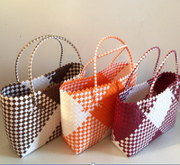 Vietnam pp straw woven bags, Pp woven beach tote bag with PU handles, Handmade woven pp plastic shopping handbag(+84 357122035)