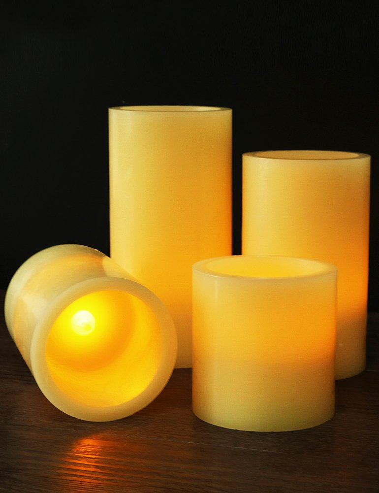 "HOME MOST Set of 4 REAL WAX LED Pillar Candles Timer (SMOOTH EDGE, Ivory, 3""/4""/5""/6"" Tall) - Ivory Candles Pillar Set - Real Wax Candles Pillars LED Candles Bulk - Flameless Candles Timer Flickering"
