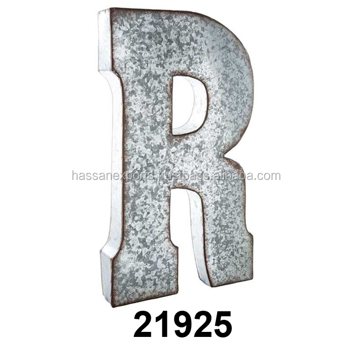 Letter R Large Galvanized Metal Wall Decor Alphabets Rustic Letters Product On