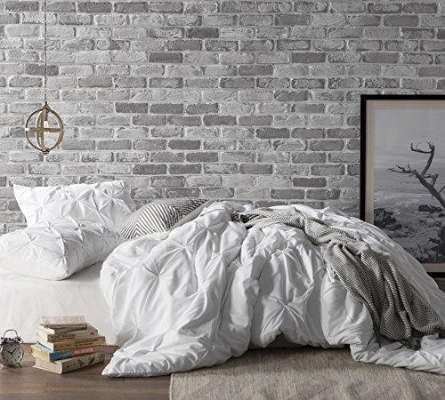 Byourbed White Pin Tuck Twin XL Duvet Cover