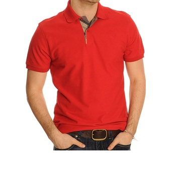 Red Plain Short Sleeve Mens Polo neck T shirts