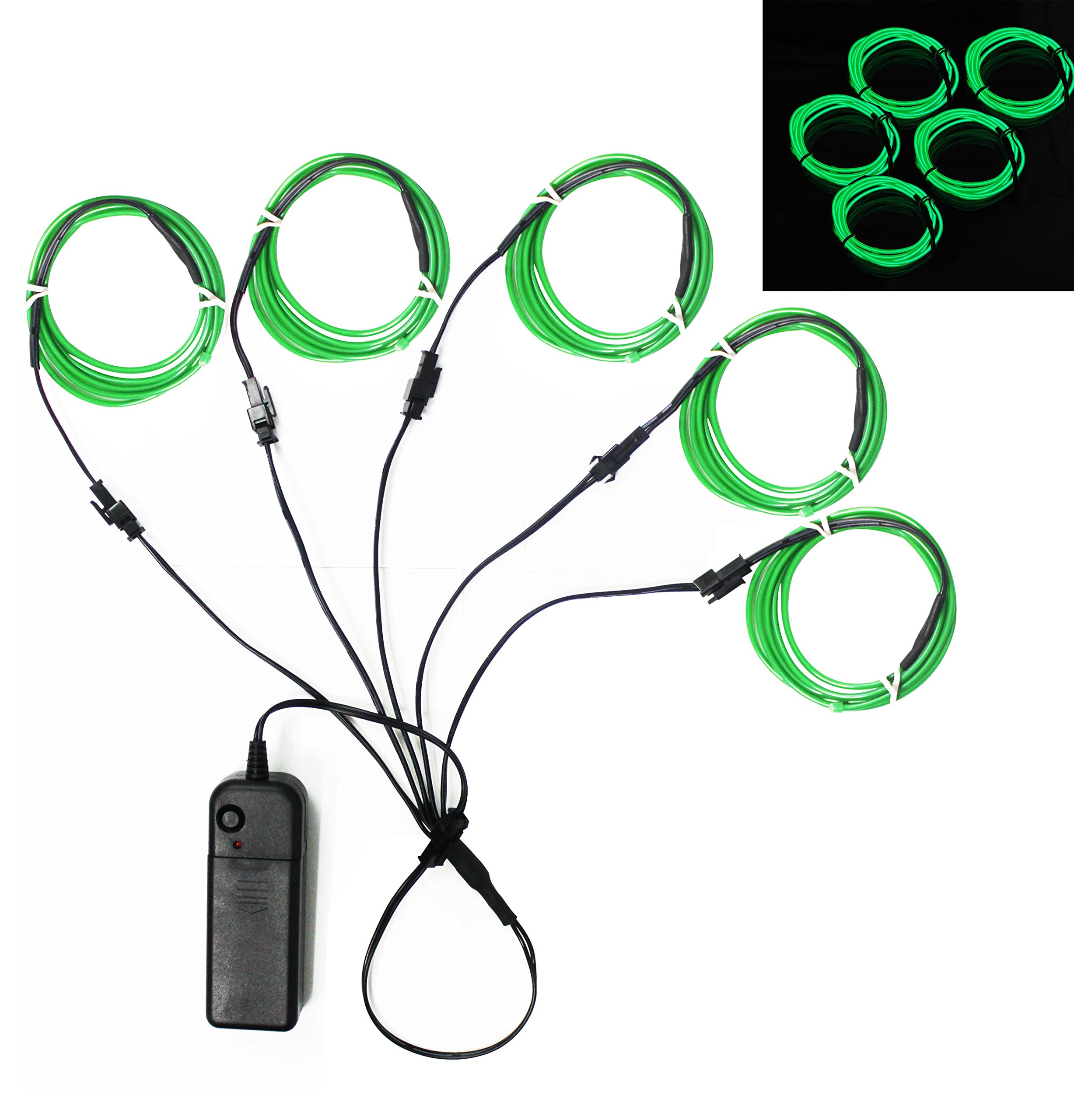Buy Ourbest El Wire Green Neon Light Wire Battery Pack 3ft ...