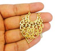 Gold Plated Fancy Design Earring Finding and Charms - Measuring 35mm x 50mm