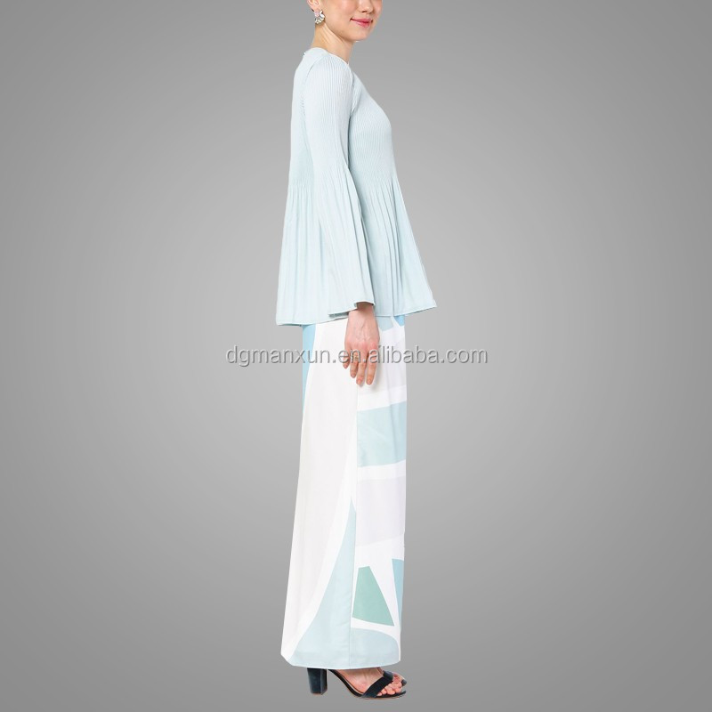 New fashion style muslim baju kurung printing islamic clothing flare sleeves top in malaysia