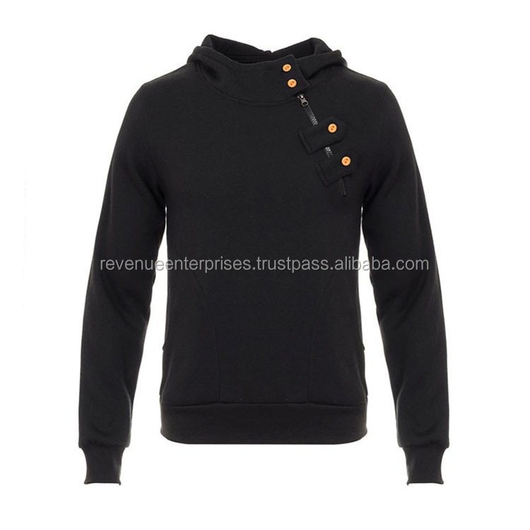 Black color stylish fleece sweatshirt with buttons on shoulder/High quality cotton fleece sweatshirt with buttons