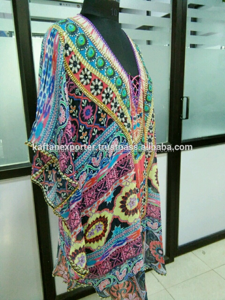 Partywear digital printed short crystal work kaftan in georgette fabric