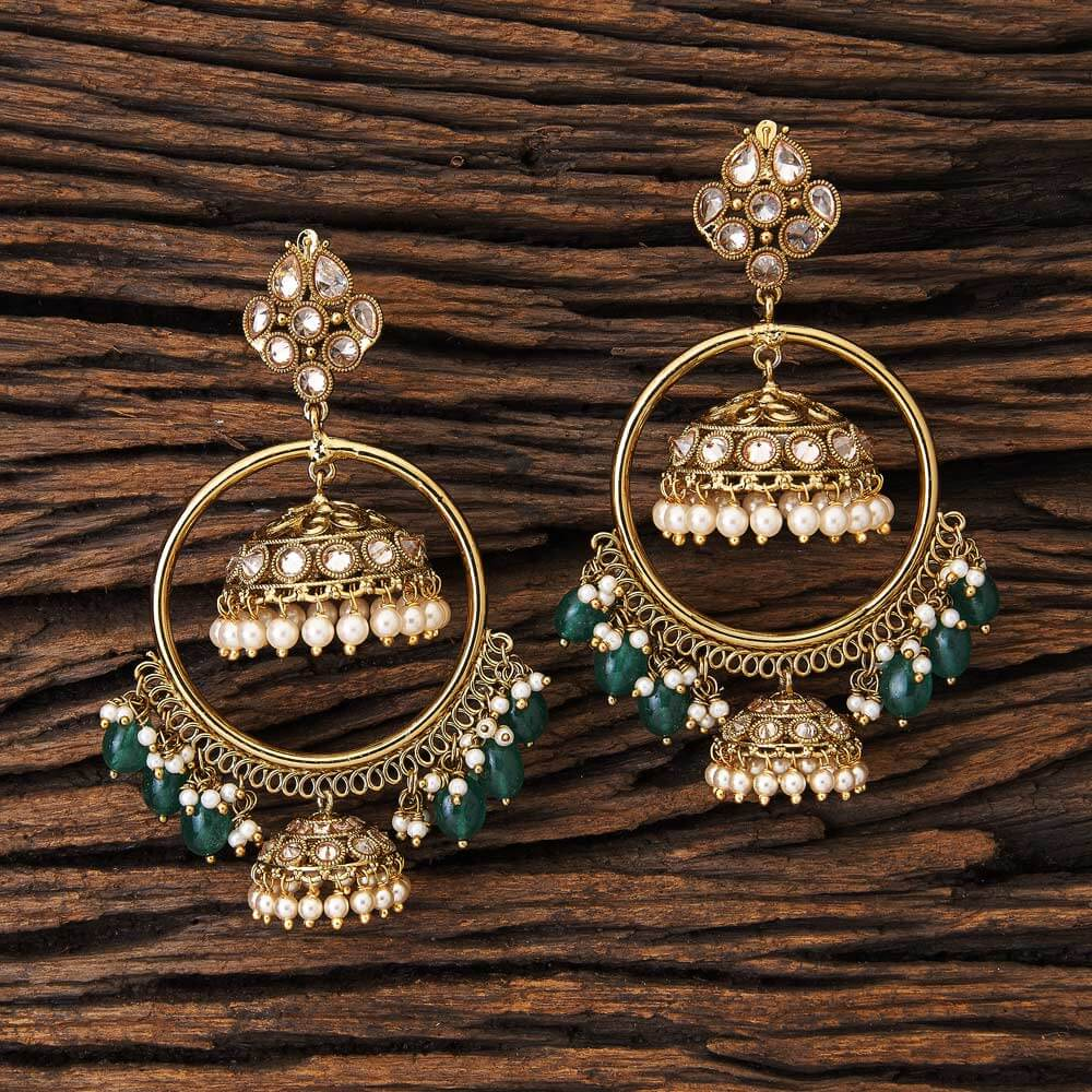 Antique Gold Plated Bali with Imitation Pearls 17108 Green
