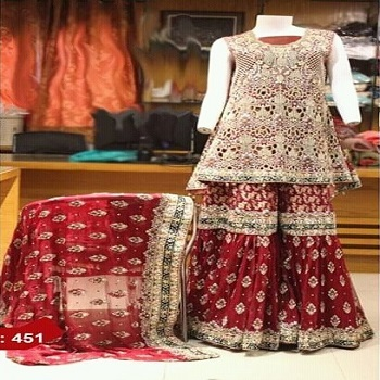 d4621fb5346 Shiny Pakistani Indian Bridal Dresses Long Sleeve Modern Nice Wedding  Dresses Gharara