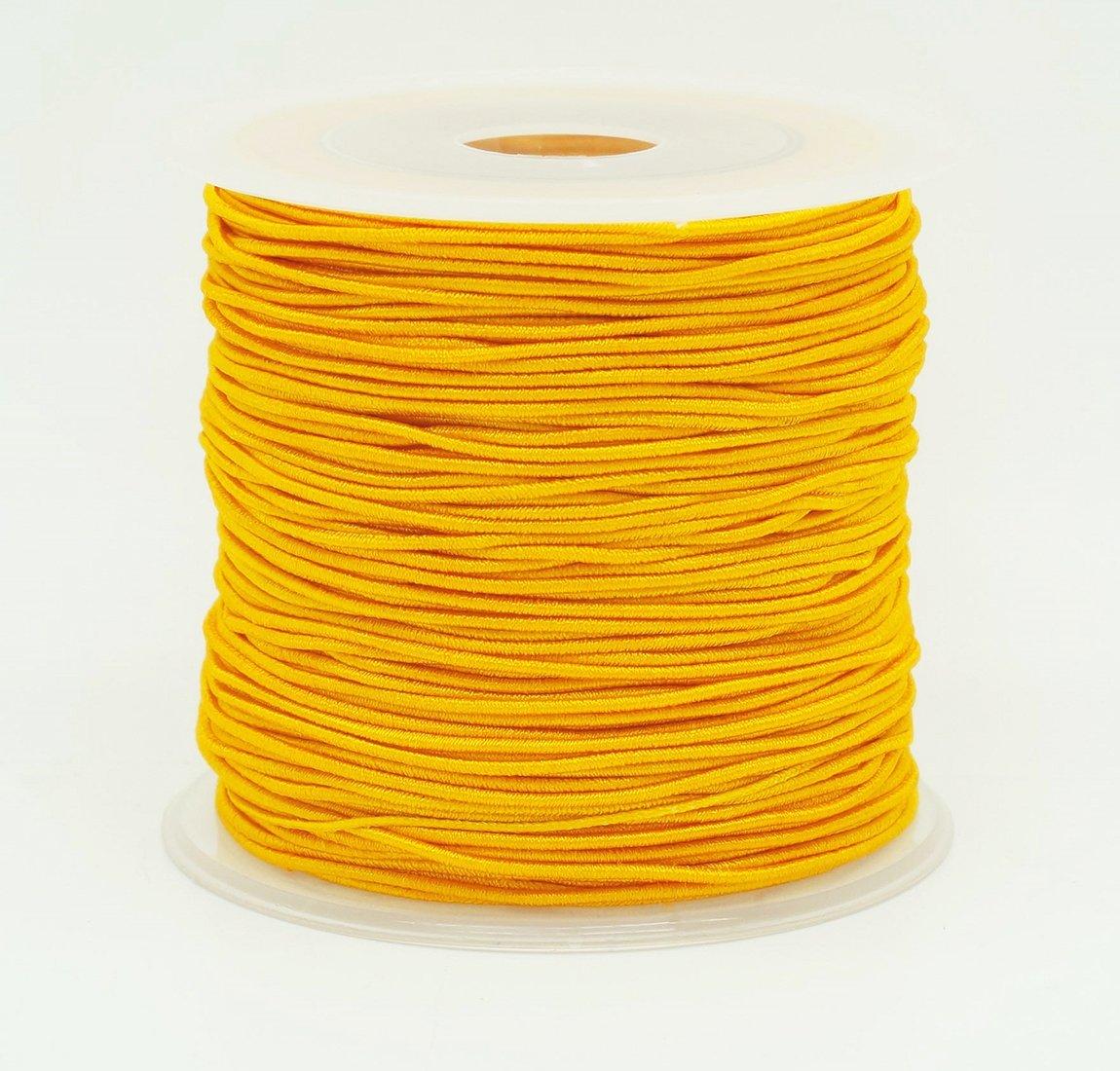 GOLDEN YELLOW 0.8mm Nylon Coated Round Elastic Cord Stretch Beading Mala String (75yards Spool)