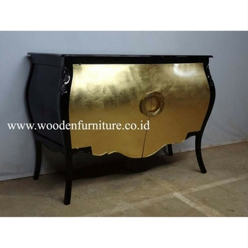 Gold Leaf Commode Antique Reproduction Cabinet Mahogany Painted