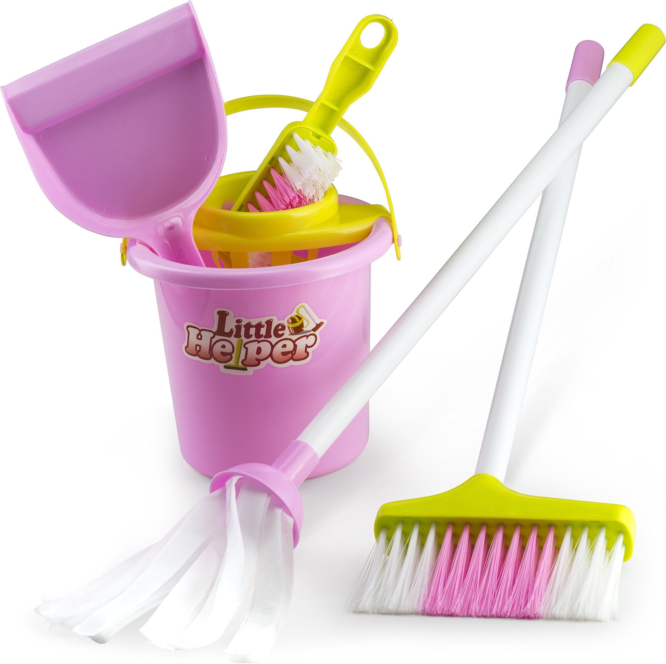 Housekeeping & Cleaning Playset – Mini Clean Up Broom, Mop and Bucket set Kids with Other Play Pretend Toys – Perfect Gift for Ages 3 & Up