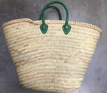 Handmade Straw Basket with Green Leather Handles