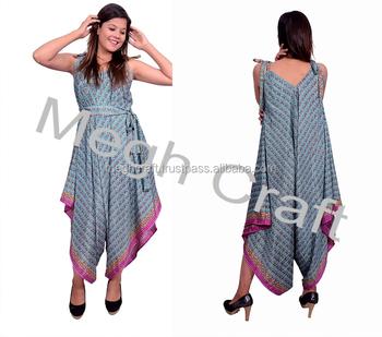 fd12ca8a1c Women Fashion Zig Zag Cut Dress - Designer Summer Wear Jump Suits - Silk  Crepe Indo