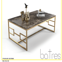 Rectangular Metal Marble Top modern Coffee Table