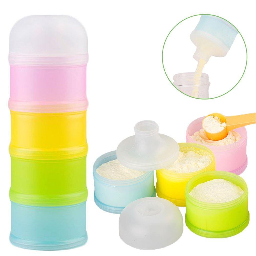 Formula Dispenser, Kidsmile Twist-Lock Stackable On-the-Go BPA Free Milk Powder Dispenser & Snack Storage Container - 4 feeds, no powder leakage