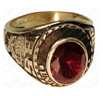 School ring Custom Made Wholesale College Ring with Garnet Stone Class Ring