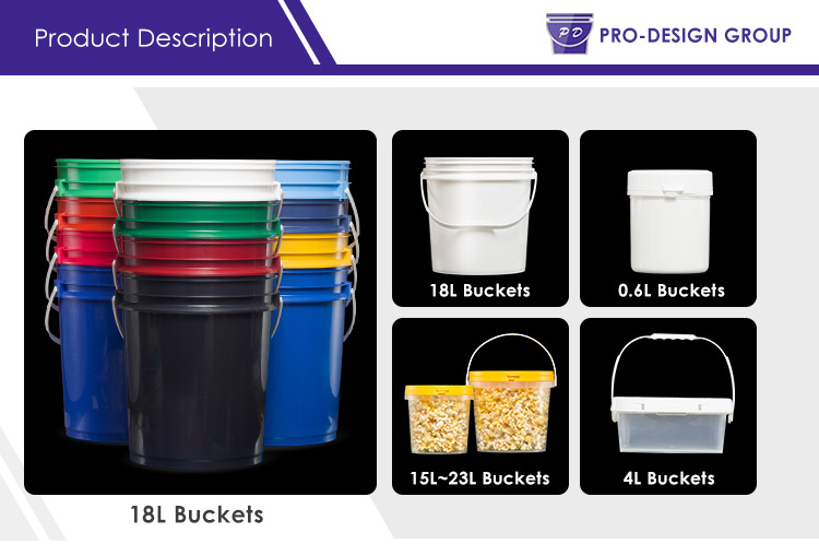 15 Liter Sturdy Handgrip Openhead Containers Customized Plastic Bucket