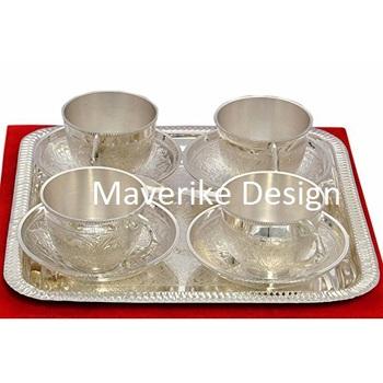 Silver Tea Cup Plate Set