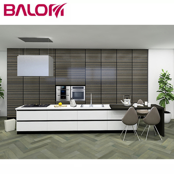 White And Black Linear Polymer Kitchen Cabinets Modern ...