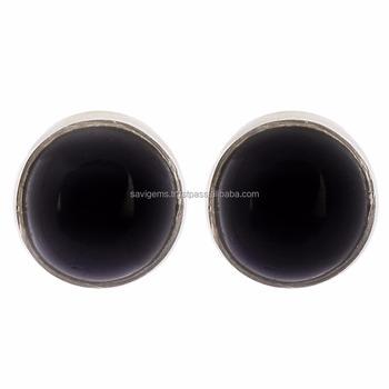 925 Sterling Silver Black Onyx Uni Stud Earring Mens Jewelry Whole India Handmade
