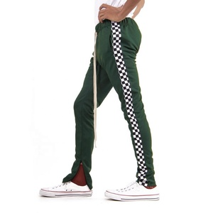 Side Zipper Long Drawstring Square Checker Track Pants