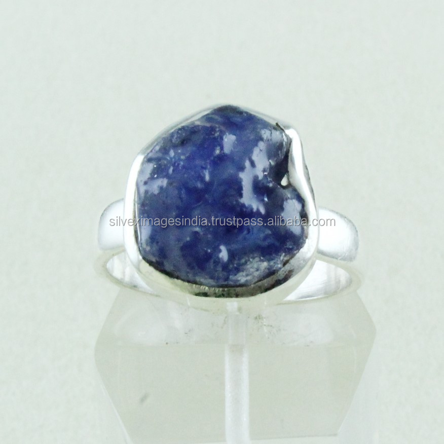 Rough Blue Tanzanite Stone 925 Sterling Silver Ring Wholesale Jewelry Lot