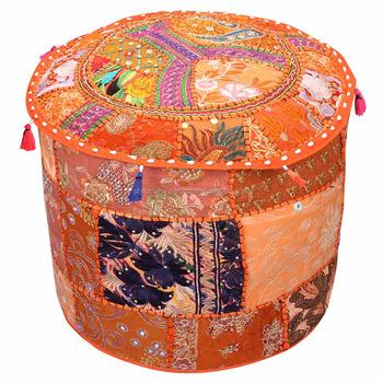 22 Decorativa Casera Puf Naranja Patchwork Puf Decoración Algodón ...
