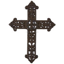 Wrought Iron Cross Decoration - Metal Cross for Christian Religious Art Lovers