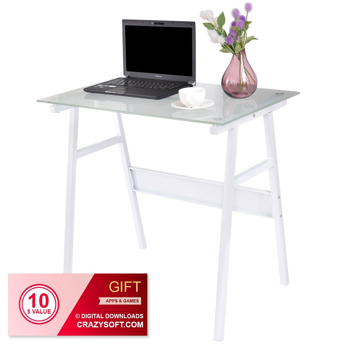 Black Glass Top Metal Leg Study Computer Desk - By Choice Products (White)
