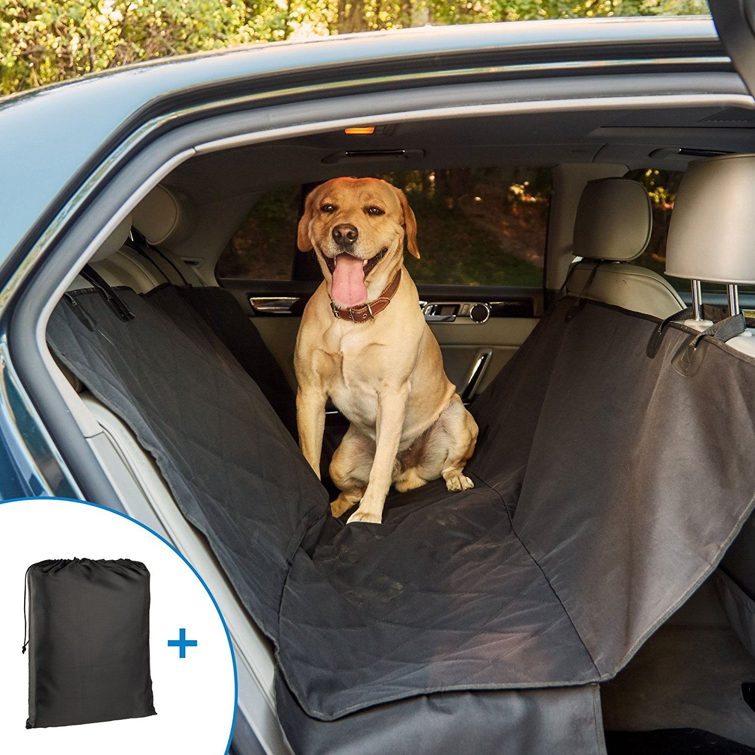 Dog Seat Cover for Back Seat - Pet Seat Covers - Car Seat Covers for Dogs - Large Dog Hammock with Sides - Waterproof Non-Slip with Storage Bag