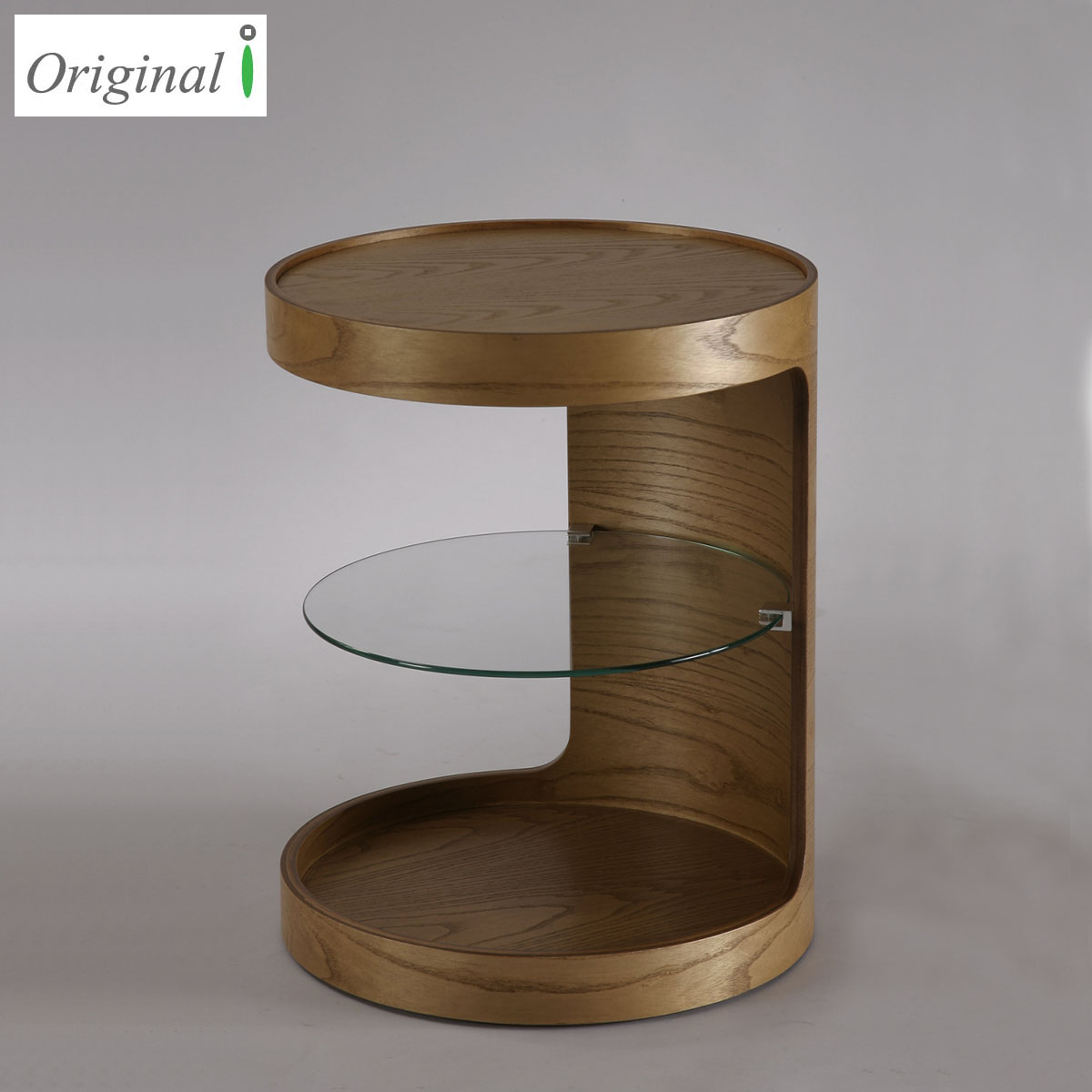 Design Round Wood Veneer Side Table with Tempered Glass and casters