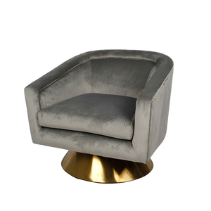 grey velvet swivel chair with round stainless base accent arm chair