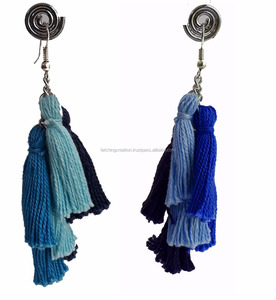 Blue black thread metal fitting earring for party