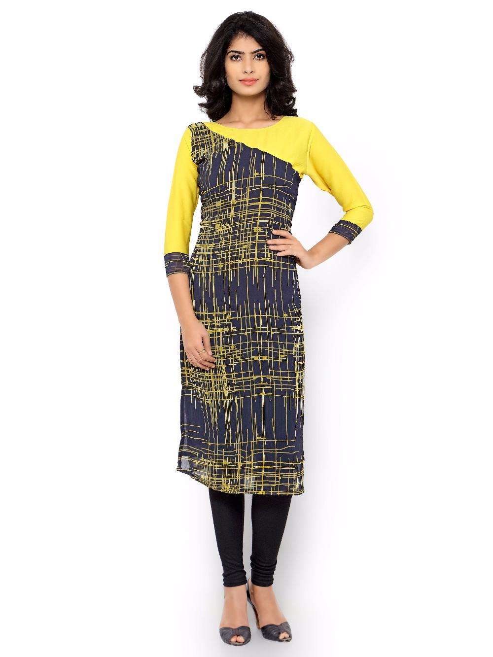 Kurti design 2017 - 2017 New Design Yellow And Black Gergette Women Kurti