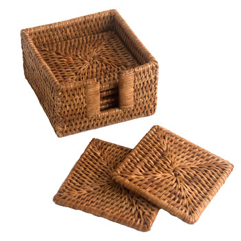 Square Rattan Wicker Charger Plate Woven Coaster Whole Set Of 6 With Holder