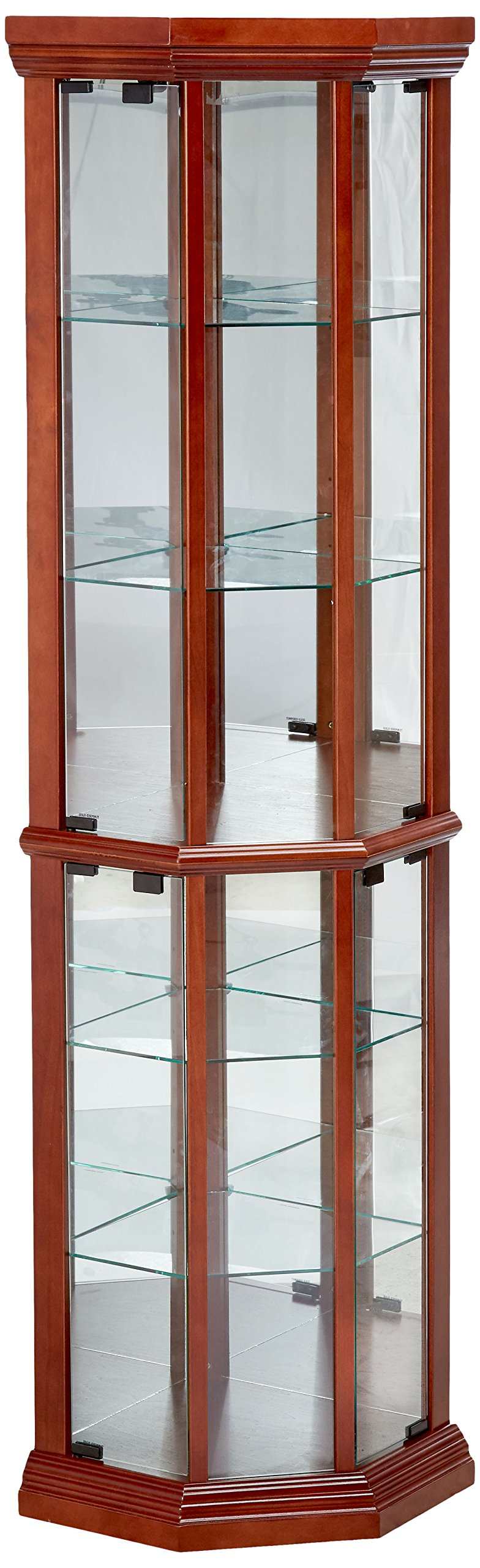 Get Quotations · Coaster Solid Wood Glass Corner China Curio Cabinet,  Medium Brown