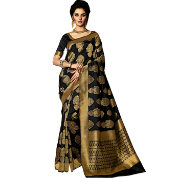 black poly silk weaving designer saree / women Sarees Online Shopping / Where To Buy Sarees Online