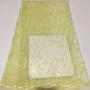 Best Selling Wholesale Yellow Sequin Wedding Dress Tulle Lace Beaded African Embroidery Net Lace Fabric