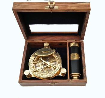 NAUTICAL BRASS COMPASS AND TELESCOPE WITH BOXES