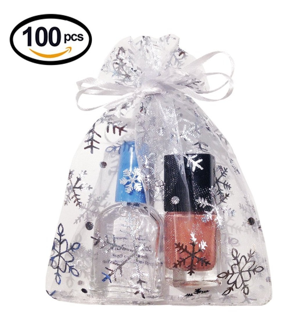 Wuli 100 Pcs Snow White Organza Gift Bags With Drawstring Party Wedding Favor Candy