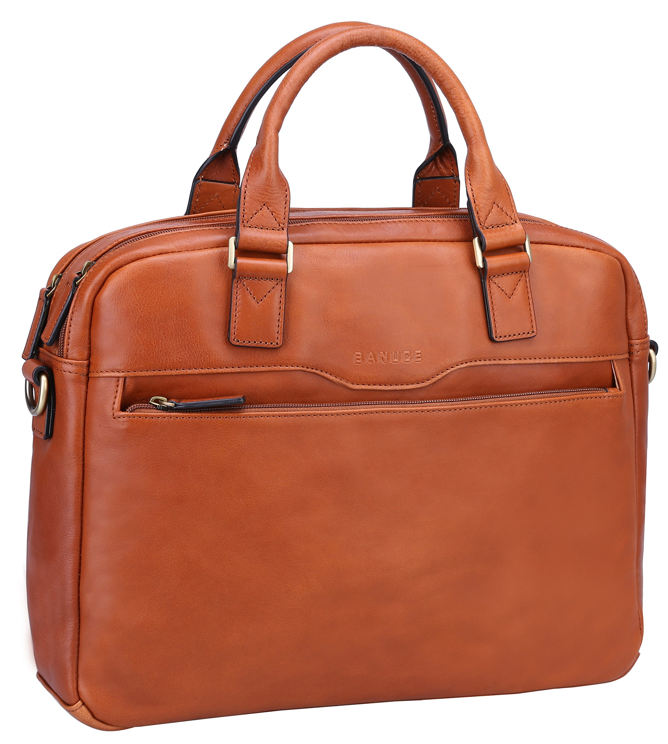 743c43dbfdcc Get Quotations · Banuce Vintage Full Grain Genuine Leather Briefcase for Men  Business Tote 14