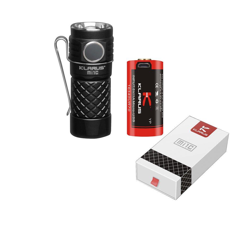 KLARUS Mi1C CREE XP-L HI V3 600 lumens LED Mini EDC Flashlight with 16340 Li-ion Battery