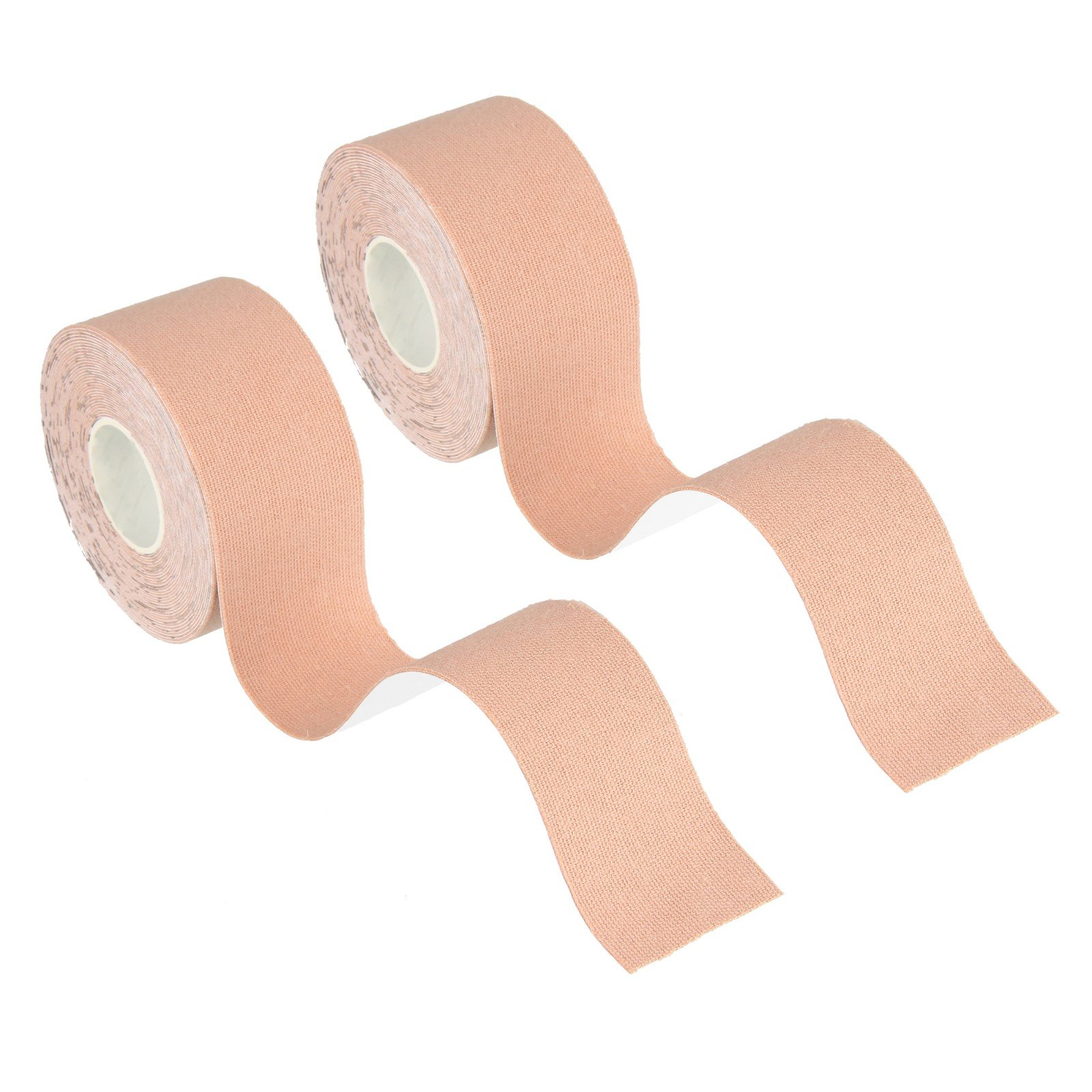 """Beauty7 Kinesiology Adhesive Tape 2 Rolls Uncut Cotton Elastic Breathable Waterproof Muscle Support for Athletic Sports Aid Recovery and Physio Therapy Knee Shoulder Elbow (Skin Tone, 1""""W x 16.4'L)"""