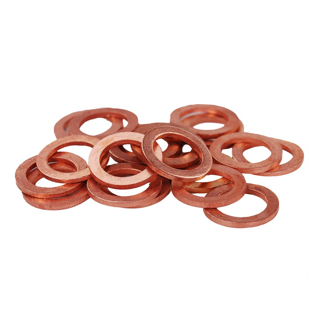 HIFROM 25pcs M12 Copper Washers Flat Ring Sump Plug Oil Seal Gasket Sealing Fitting Washers