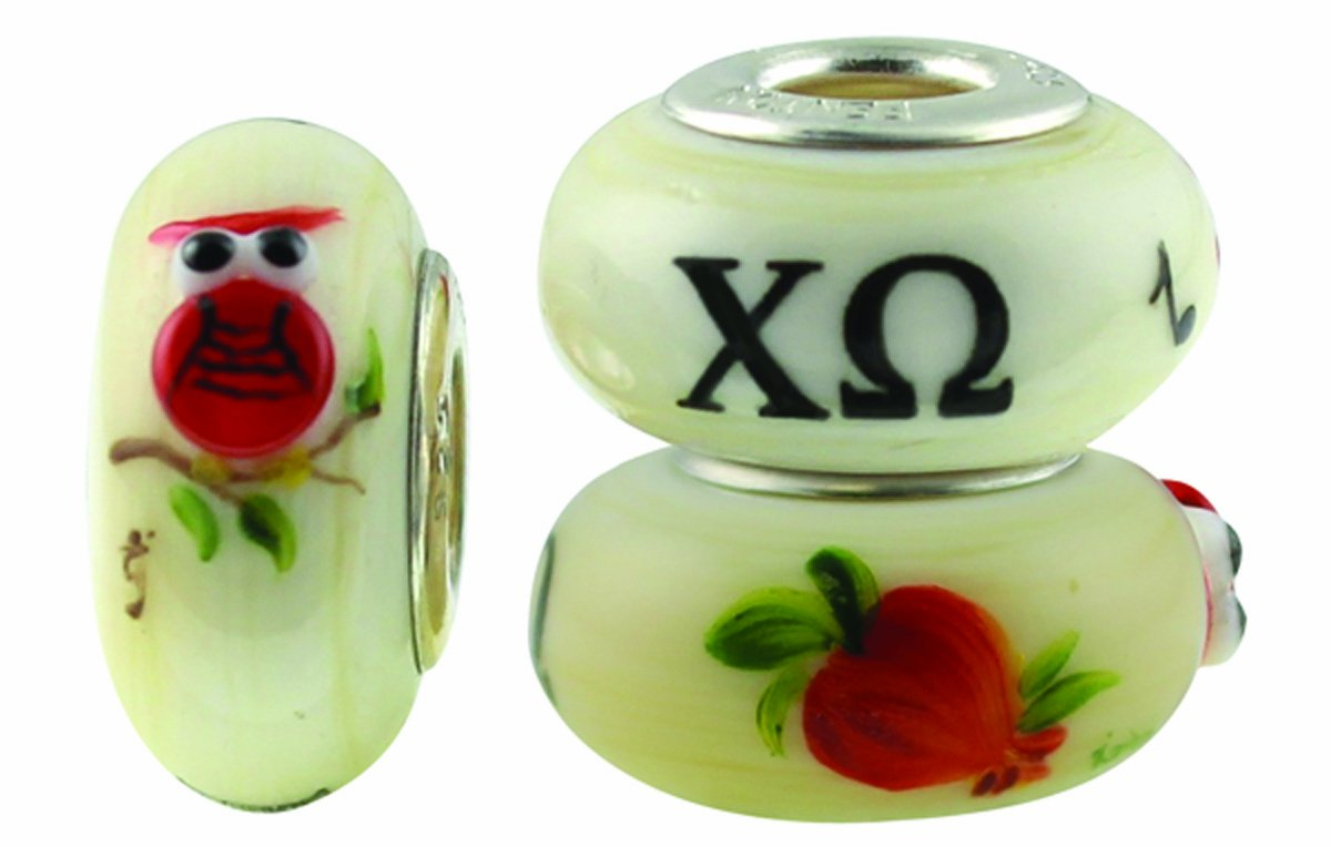 Chi Omega Hand Painted Fenton Glass Bead Fits Most European Style Charm Bracelets