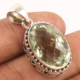 Natural GREEN AMETHYST Faceted Gems 925 Sterling Silver Indian Artisan Pendant