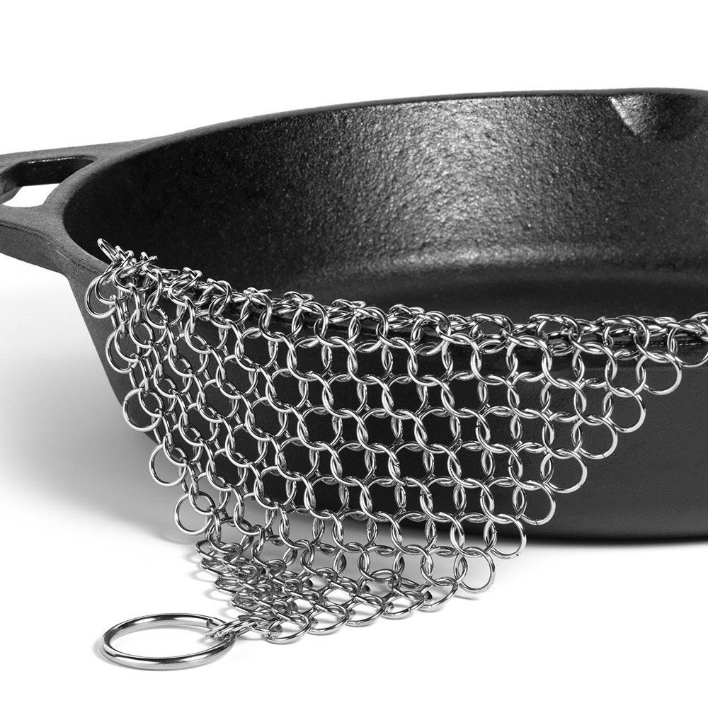 Vibola Cast Iron Cleaner. Steel Scrubber - Cookware Cleaner For Skillet, Wok, Pot, Pan | Does Not Rust like Steel Wool | Home & Camping | Protects Cookware Seasoning 15×20cm(6×8inch) (Sliver)