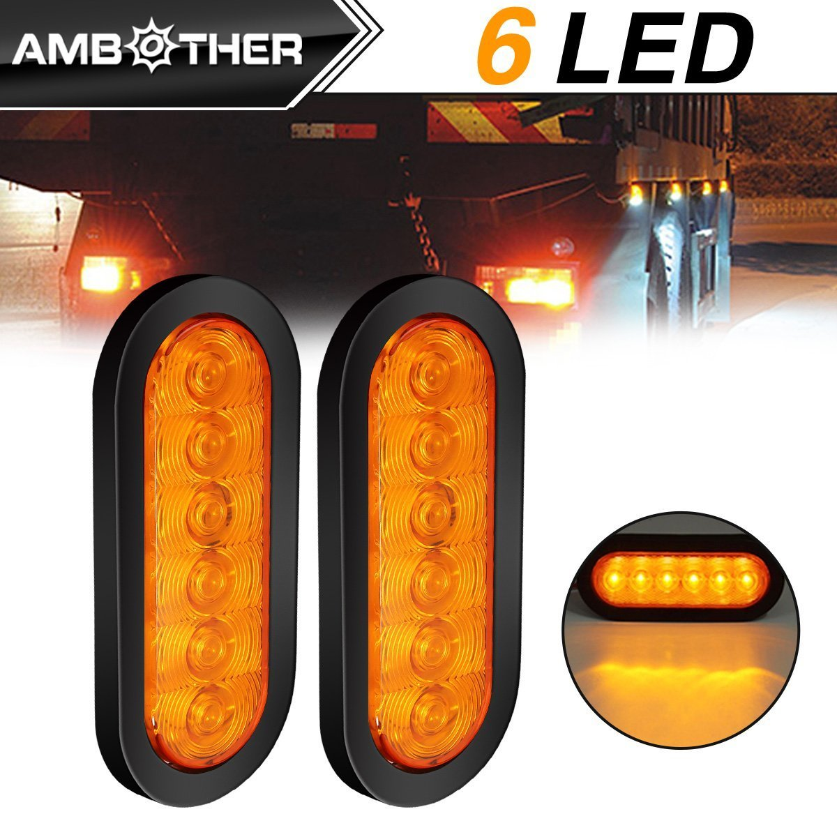 """2 TRAILER TOW TOWING REAR STOP TURN LED 6/"""" OVAL LIGHTS WATER PROOF SUPER BRIGHT"""