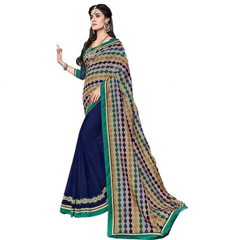 Fab Navy Blue Colour Georgette Casual Wear Saree