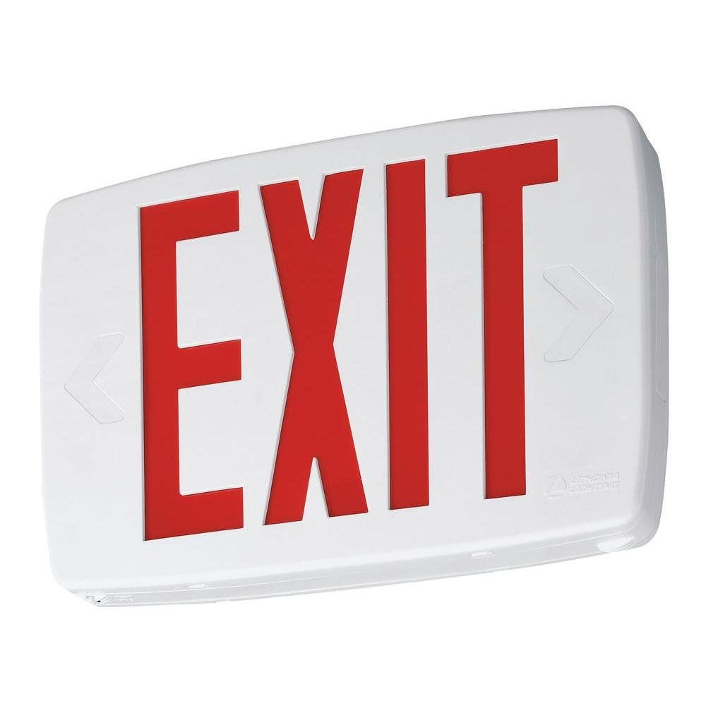 Lithonia Lighting LQM S W 3 G 120/277 EL N SD M6 Quantum Led Green Thermoplastic Exit Sign with Battery Backup and Self Diagnostics, White